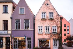 Bremen, Germany, January, 2019 - Colorful houses in historic Schnoorviertel in Bremen, Germany stock images