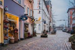 Bremen, Germany, January, 2019 - Colorful houses in historic Schnoorviertel in Bremen, Germany stock image