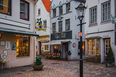 Bremen, Germany, January, 2019 - Colorful houses in historic Schnoorviertel in Bremen, Germany royalty free stock photos