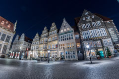 BREMEN, GERMANY - JANUARY, 4 2015 - old town illuminated in christmas time Stock Images