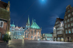 BREMEN, GERMANY - JANUARY, 4 2015 - old town illuminated in christmas time Stock Image