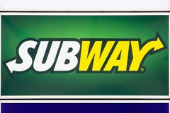 Subway logo on a wall. Bremen, Germany - July 31, 2015: Subway logo on a wall. Subway is an American fast food restaurant franchise that primarily sells Stock Photography