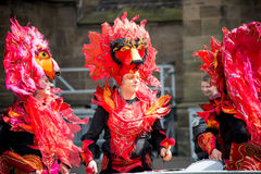Bremen, Germany - June 22, 2014: Street performers play drums Royalty Free Stock Image