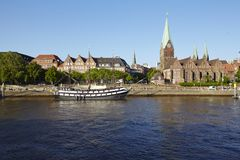 Bremen, Germany - Martini-Church and Schlachte-Riverside Royalty Free Stock Photos