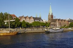 Bremen, Germany - Martini-Church and Schlachte-Riverside Royalty Free Stock Photography