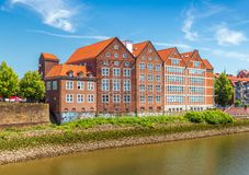 Bremen, Germany: Old and modern houses in the traditional German architecture style stock images