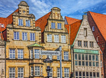 Bremen, Germany. Old town houses. Market square Marktplatz. St. Reet sign Böttcherstrasse Royalty Free Stock Images