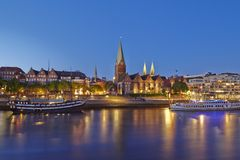 Bremen, Germany - Schlachte-Riverside and Martini-Church in the evening Royalty Free Stock Photos