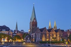 Bremen, Germany - Schlachte-Riverside and Martini-Church in the evening Royalty Free Stock Photography