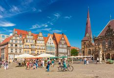 Bremen, Germany: View of the central square of the famous German city. Bremen - July 2018, Germany: View of the central square of the famous German city Royalty Free Stock Images