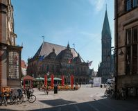 Bremen, Germany, View of the central square of the Old Town of Bremen. Bremen, Germany - April 19, 2018 - View of the central square of the Old Town of Bremen on stock photos
