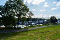 Bremen-Grohn, Bremen, Germany - July 17, 2019 old marina in bremen grohn stock photos