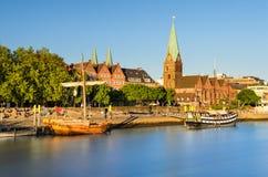 Bremen i aftonljus, Tyskland Arkivbild