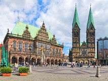 Bremen Market Square with City Hall and Bremen Cathedral, Germany Stock Photography