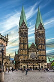 Bremen market square, Germany. Cathedral church (Bremer Sankt Pe Stock Photos