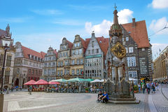Bremen marketplace, old town with Roland statue Stock Image