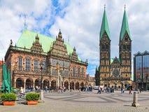 Bremen-Marktplatz mit Rathaus und Bremen-Kathedrale, Deutschland Stockfotografie