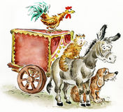 Bremen musicians. Fairy tale illustration Royalty Free Stock Photography