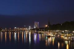 Bremen Schlachte på natten Royaltyfri Fotografi