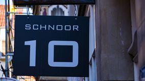 Bremen Schnoor 10 straatteken stock afbeelding