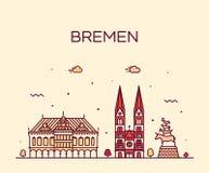 Bremen skyline Germany vector city linear style royalty free illustration