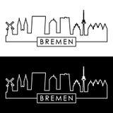 Bremen skyline. Linear style. stock illustration