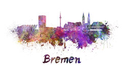 Bremen skyline in watercolor Royalty Free Stock Photography