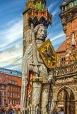 Bremen targowy kwadrat, Niemcy Rycerza Roland statua na Marktplat Fotografia Stock
