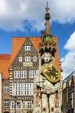 Bremen targowy kwadrat, Niemcy Rycerza Roland statua na Marktplat Obraz Stock