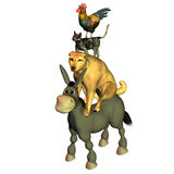 Of Bremen town musicians. 3d rendering the fairy tales figures of Bremen town musicians as illustration Royalty Free Stock Photography