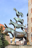 The Bremen town musicians. BREMEN, GERMANY - AUGUST 17, 2012: The Bremen town musicians statue -  symbol of the city Stock Photos