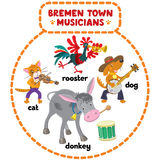 Bremen Town Musicians cartoon set Stock Photos