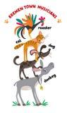 Bremen Town Musicians cartoon set vector illustration