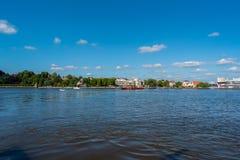 Bremen-Vegesack, Bremen, Germany - July 17, 2019 crossing by ferry in bremen vegesack stock image
