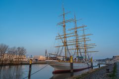 Bremen-Vegesack, Bremen, Germany - July 17, 2019 Bremen-Vegesack, Bremen, Germany - March 29, 2019 Sail school ship Germany is anc stock image