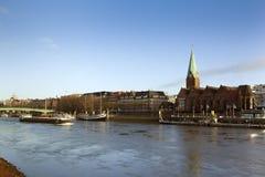 Bremen, Weser river and Saint Martini church Stock Photo
