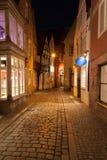 Bremer Schnoor στη νύχτα Στοκ Φωτογραφίες