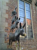 Bremer Stadtmusikanten. The Bremen Town Musicians, a monument typical of Bremen, from the fairy tale by the Brothers Grimm, donkey, dog, cat, rooster Royalty Free Stock Photo