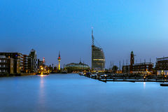 Bremerhaven en la hora azul Imagenes de archivo