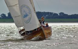 Bremerhaven, Germany - September 8th, 2012 - Classic sailing yacht on the river Weser stock image