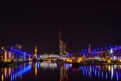 Bremerhaven på natten Royaltyfria Bilder