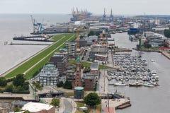 Bremerhaven-Stadtbild Deutschland von oben Lizenzfreie Stockfotos