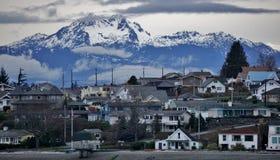 Bremerton Washington/Olympic mountains stock image