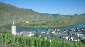 Bremm Mosel flodpilbåge, Tyskland Arkivfoto