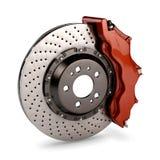 Bremsen-Platte und roter Schieber von einem laufenden Auto Stockfotografie