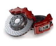 Bremsplatten mit roten Tasterzirkeln von einem Rennwagen Lizenzfreies Stockfoto