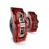 Bremsplatten mit roten Tasterzirkeln von einem Rennwagen Stockfotos