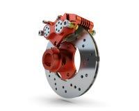 Bremsscheibe und roter Tasterzirkel von einem laufenden Motorrad an lokalisiert Stockfoto