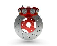 Bremsscheibe und roter Tasterzirkel von einem laufenden Motorrad an lokalisiert Lizenzfreie Stockbilder