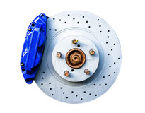 Bremstasterzirkel und -scheibe lokalisiert Lizenzfreies Stockbild